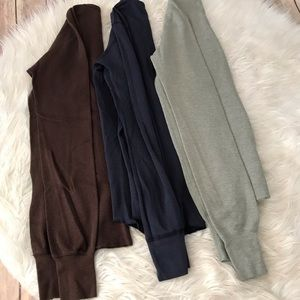 3 American Apparel waffle knit long sleeved tops